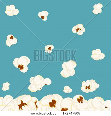 Vector background with falling popcorn on blue