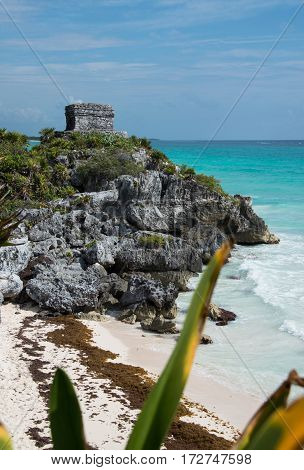 Mayan ruins watch tower of Tulum in Mexico on Caribbean coastline