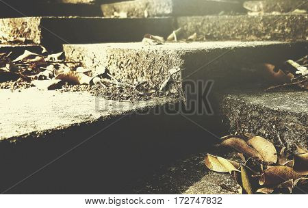 Abstract concrete steps in the pathway