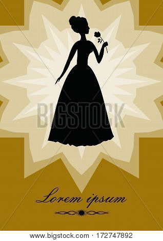 Black lady with rose silhouette on gold background with star shape. Retro designed art deco template in victorian style for invitation flyer leaflet banner poster announcement