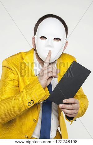 Businessman In A Gold Suit, Performs Quietly Gesture