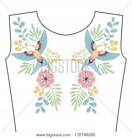 Embroidery stitches with spring swallow bird, wild flowers for neckline. Vector fashion ornament in pastel color for textile, fabric traditional folk decoration.