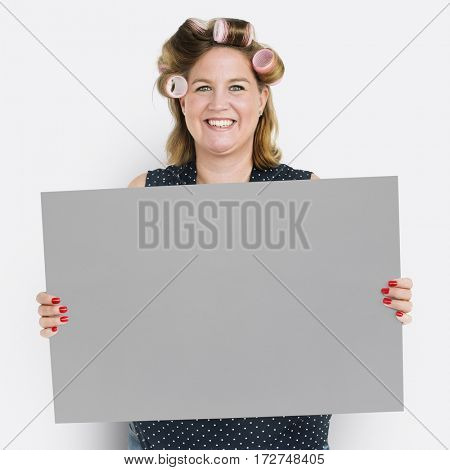 Woman Hair Roller Smiling Banner Copy Space
