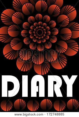 Diary cover template with abstract flower shape in black and red design red patterned circle shape