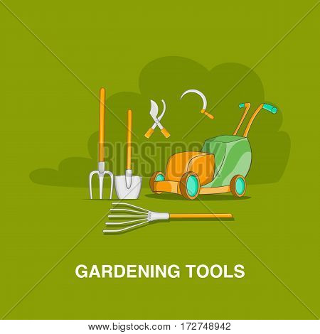Gardening tools concept in cartoon style on an orange background vector illustration