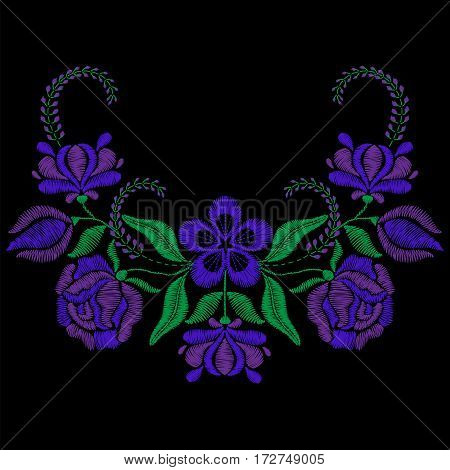 Color embroidery with violet flower, roses. Necklace for fabric, textile floral print. Fashion design for girl wear decoration. Tradition ornamental pattern. Vector illustration.