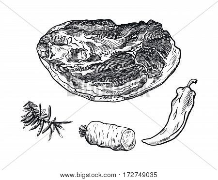 hand drawn sketches of beef brisket and spices on a white background