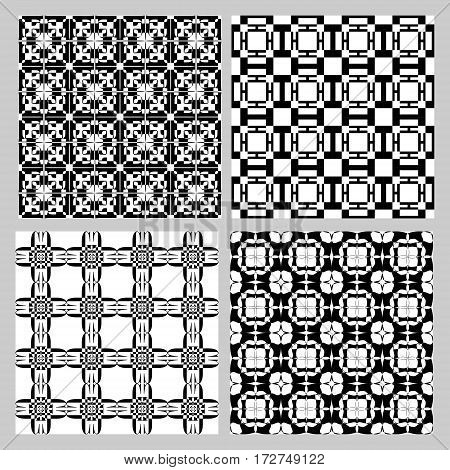 Set of black and white vintage patterns. Decorative tile collection in art deco style. Repeatable geometric ornament. Vector eps10