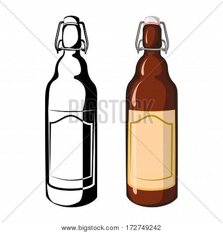 Vector black and white and color illustration liter bottles of beer on a white background