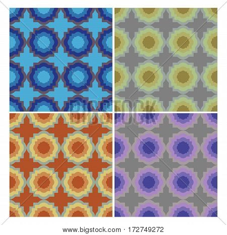 Circle patterns in retro nostalgic colors. Set of seamless patterns in 70s or 80s style.