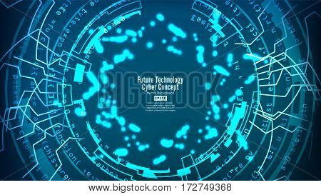 Futuristic Technology Connection Structure. Vector Abstract Background. Blue Electronic Network. Digital System