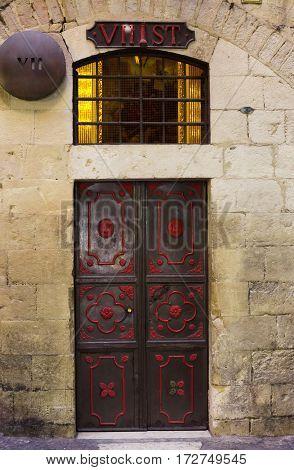 Station 7 of the Cross in Via Dolorosa. Jerusalem Old City Israel. Way of the Cross of Jesus Christ