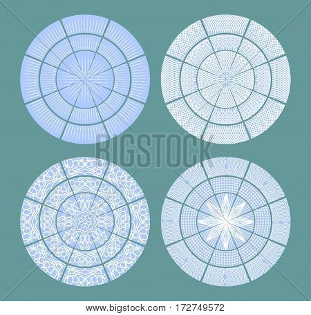 Set of design elements circle shapes white patterns on blue background. Vector eps10