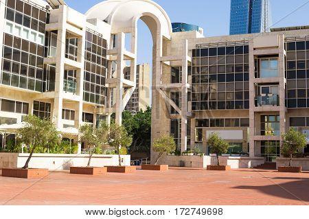 Facade of building modern architecture Tel Aviv Israel. Glass facade