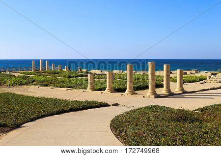 Columns of the ancient Roman Villa on the Mediterranean coast in Caesarea Israel