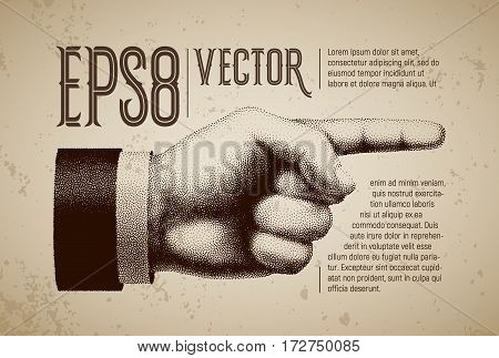 Vector hand with pointing finger in engraving style. Eps8. RGB. Global colors