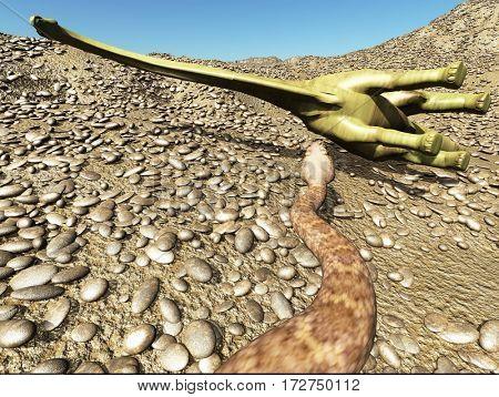 Dinosaurs Jurassic prehistoric scene dinosaur fighting with snake 3d rendering