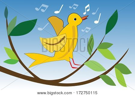 Yellow bird singing on branch with green leaves cute spring theme vector illustration for easter or spring design