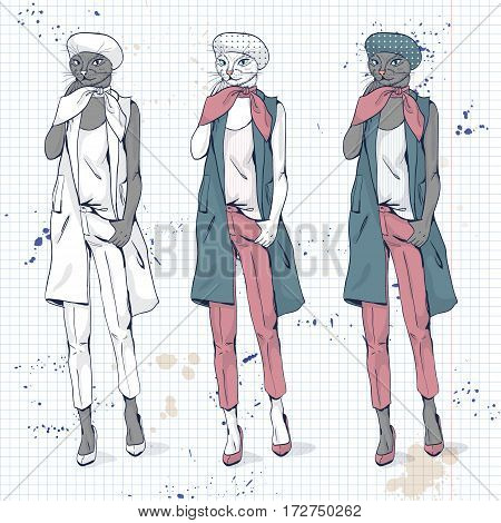 Vector elegant women with cats had and beret and scarf in color on a notebook page