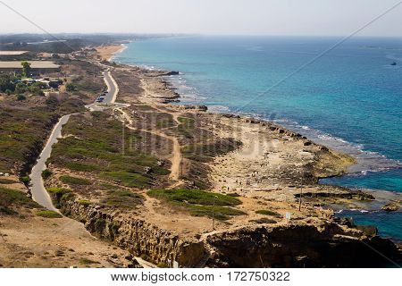 View of coast from Rosh Hanikra. Last point of the Israel sea border. The northern border of Israel