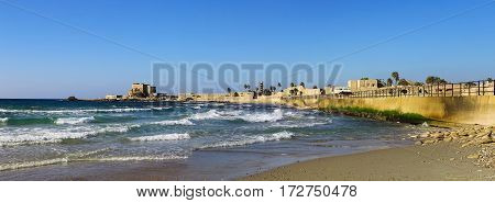 National park Caesarea on the coast of Mediterranean sea Israel. Panoramic photo in high size
