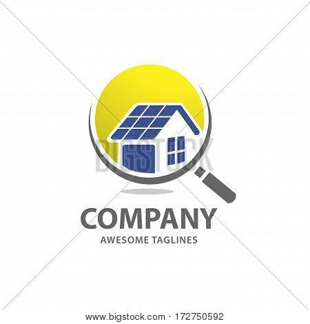 Home Solar Panels, Solar Energy logo, Renewable Technology Logo.