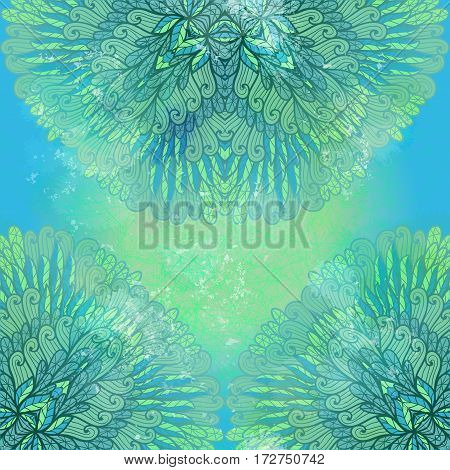 Hand drawn ethnic floral blue grunge ornament