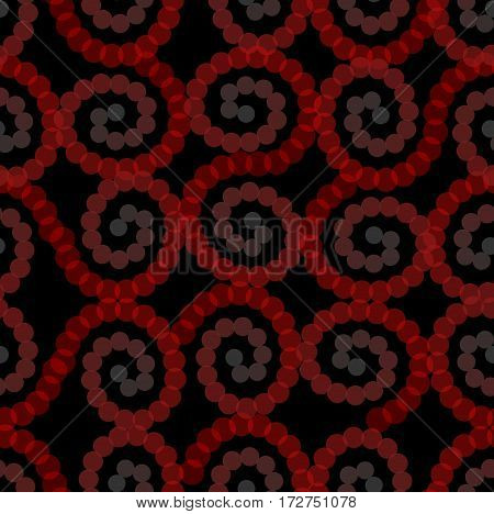 Red dots spiral. Semitransparent dot patterns. Seamless vector spirals on black background. Overlapping ornaments vector eps 10