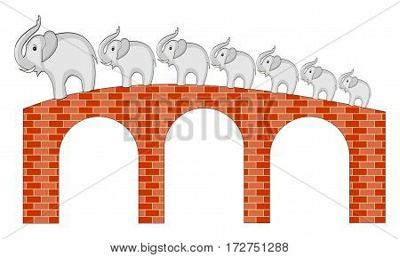 Seven elephants walking on brick bridge with three arcs. Isolated illustration on white background.