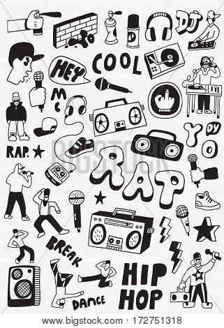 rap icons in sketch style , design elements