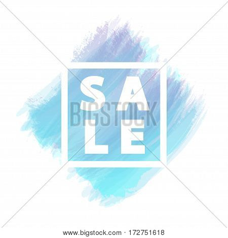 Sale banner for stocks such as black friday, promotion, special offer, advertisement, sale, hot price and discount poster with blue watercolor brush strokes shapes with frame. Vector Illustration
