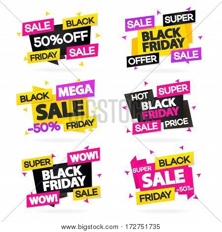 Black friday sale banners set for your promotion isolated on white background with sign wow, super sale, mega sale and hot price. Super sale and discount- stock vector