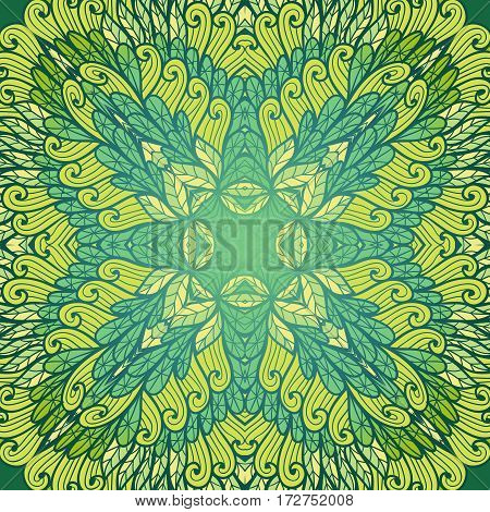 Hand drawn ethnic floral green and blue vintage ornamental pattern