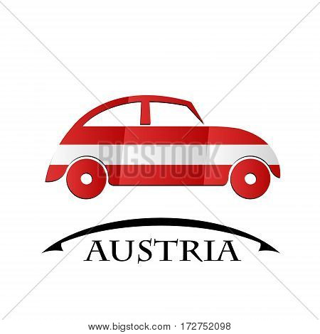 car icon made from the flag of Austria