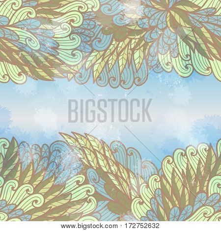 Hand drawn seamless blue and beige invitation card design with swirls