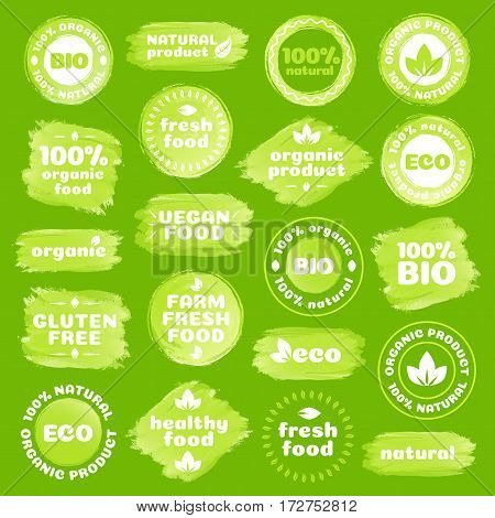 Natural product, healthy food, fresh food, organic product, vegan food, farm fresh food, gluten free, bio and eco label template watercolor shapes isolated on green background. Vector Illustration