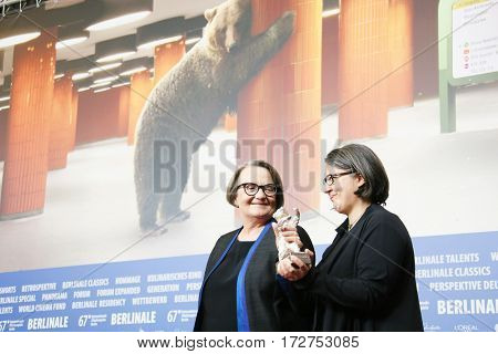 Agnieszka Holland and Kasia Adamik attend the award winners press conference during the 67th Film Festival Berlin at Grand Hyatt Hotel on February 18, 2017 in Berlin, Germany.