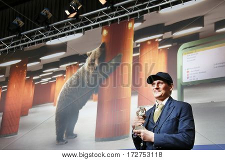 Georg Friedrich, winner of the Silver Bear for Best Actor (Bright Nights) attends the press conference during the 67th Film Festival Berlin at Hyatt Hotel on February 18, 2017 in Berlin, Germany.