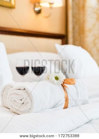 White towel in luxury boutique hotel