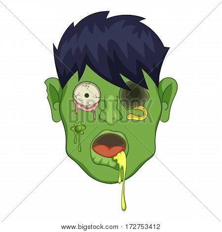 Zombie head icon. Cartoon illustration of zombie head vector icon for web
