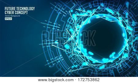 Futuristic Technology Connection Structure. Vector Abstract Background. Blue Electronic Network. Electronic Data Connect. Global System