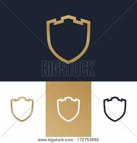 Shield, guard, protection, safe and security logo gold color for your business. Vector Illustration