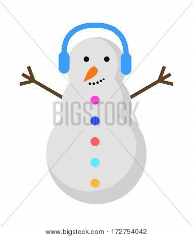 New Year snowman with blue earphones on head isolated on white. Snowman with raised hands and orange carrot nose. Colourful buttons. Flat design. Comic illustration in 80s 90s style. Vector.