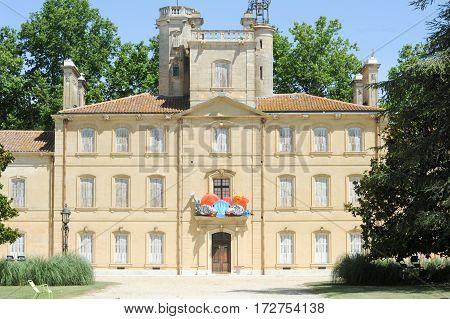 Cam argue, France - 14 june 2013: Castle of Chataux d'Avignon on Camargue France