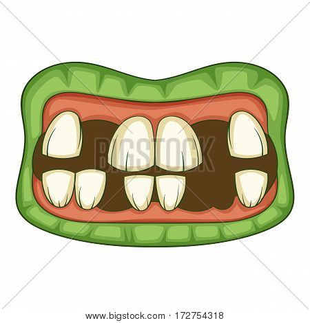 Zombie teeth icon. Cartoon illustration of zombie mouth vector icon for web