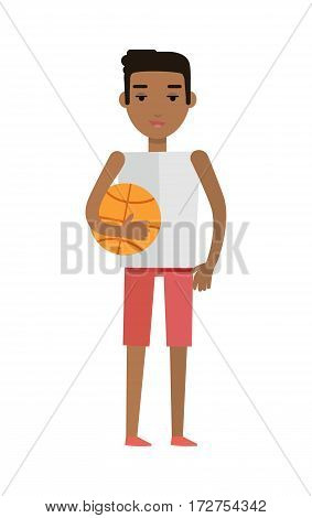 Young african black man with ball isolated on white. Beautiful afro american boy in white T-shirt and red breeches. Sportive handsome gentleman. Part of series of people of the world. Vector