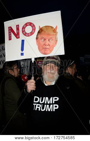 London United Kingdon - Febuary 20th 2017: Protesters gather in Parliment Square to protest the invitation to United States President Donald Trump on a state visit to Great Britain as Parliment debate the visit