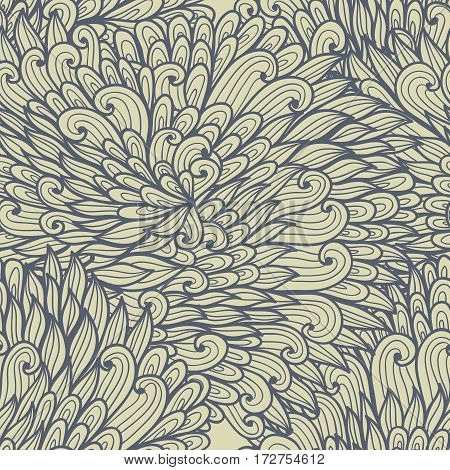 Seamless floral monochrome blue hand drawn doodle pattern