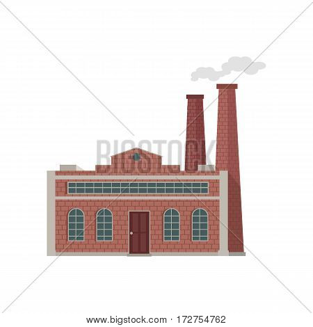 Factory building with pipes in flat. Industrial factory building concept. Industrial plant with pipes. Plant with smoking chimneys. Factory icon. Isolated object in flat design on white background.
