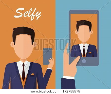 Selfy on smartphone. Young man taking own self portrait with mobile phone. Modern life with selfie photo camera. Selfie smile vector concept. Man in jacket and tie shows his photo on displlay
